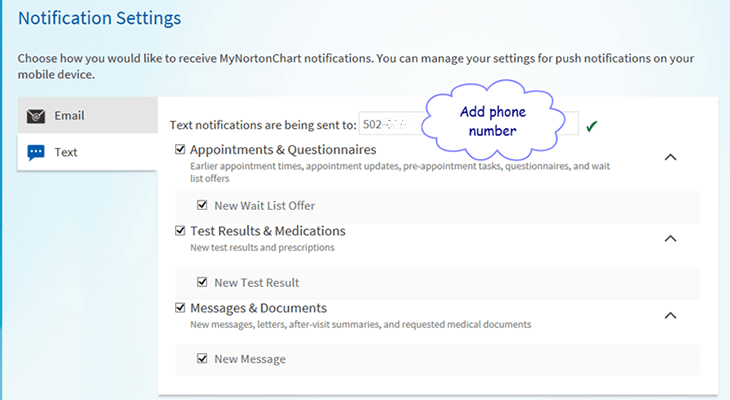MyNortonChart now sends text messages about new test results